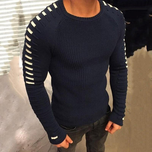 Fashion Men's Round Collar Split Joint Sweaters