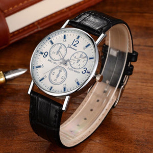 Fashion Casual PU Leather Mens Quartz Watch