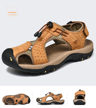 Load image into Gallery viewer, Leather Breathable Casual Beach Mens Shoes