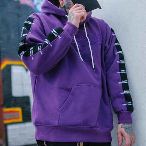 Fashion Mens Loose Embroidery Thermal Hoodie