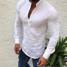 Load image into Gallery viewer, Fashion Mens Masculine Plain V Button Collar Linen T-Shirt