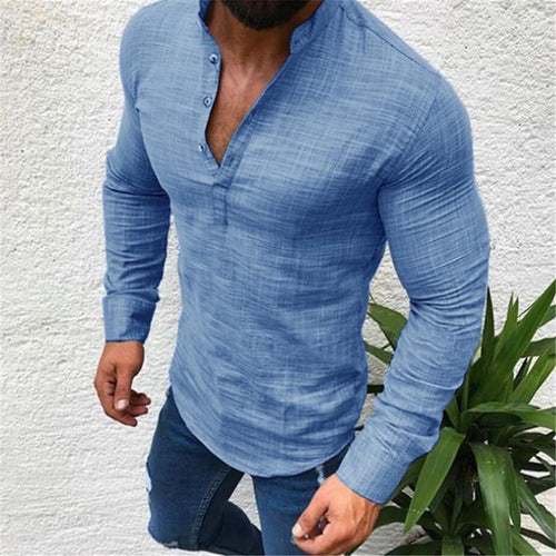 Fashion Mens Masculine Plain V Button Collar Linen T-Shirt