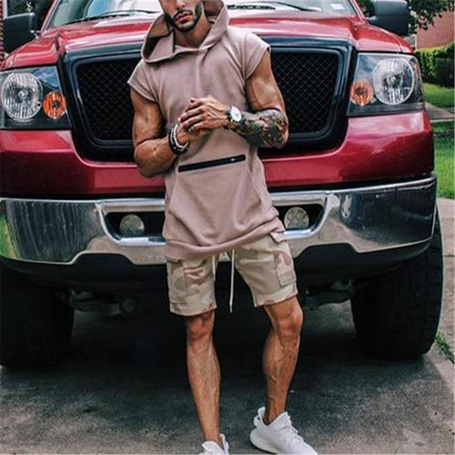 Fashion Mens Loose Plain Short Sleeve Hoodie Shirts