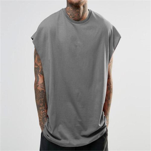 Fashion Men's Loose Plain Sleeveless Sport Top Vest