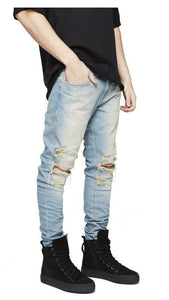Fashion Men's Slim Fit Hole Zipper Cowboy Jeans Pants