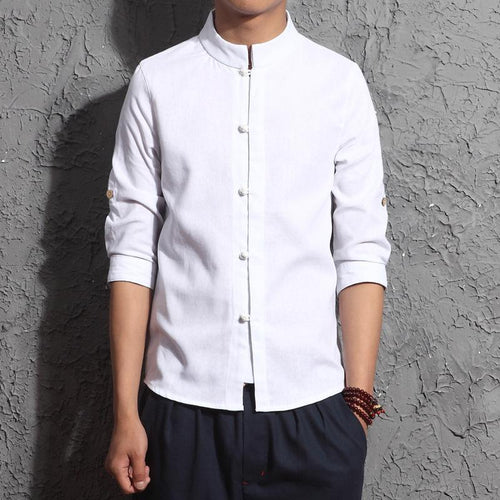 Fashion Mens Plain Lapel Cotton And Linen Button Shirt