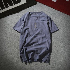 Casual Men's V Collar Button  Plain Shirt
