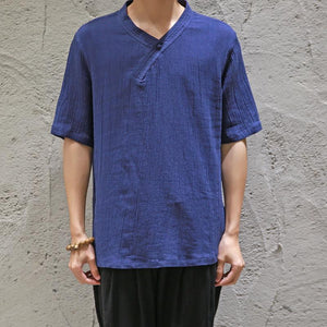 Casual Men's Loose Plain Cotton And Linen Shirt