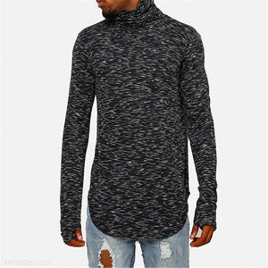 Mens Fashion Youth Casual Sport Loose Color Block High Waist Long Sleeve Sweater