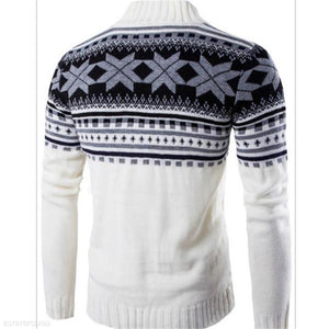 Fashion Mens Casual Slim Floral Round Neck Long Sleeve Men Sweater
