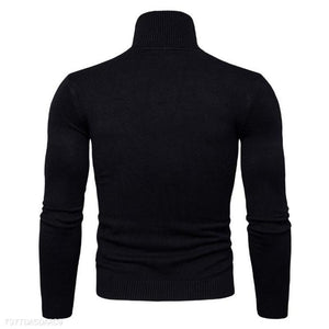 Fashion Mens Slim Plain High Collar Long Sleeve Sweater