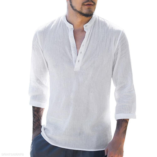 Fashion Mens V Collar Button Plain Linen Shirt