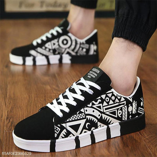 Fashion Youth Casual Sport Scrawl Shoelace Mens Shoes