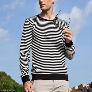 Fashion Mens Sport Casual Loose Strip Long Sleeve Shirts