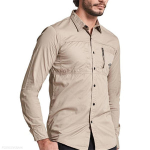 Fashion Mens Casual Plain Long Sleeve Shirt Top