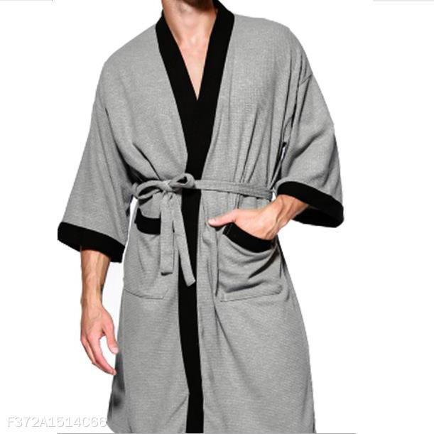 Fashion Mens Loose Soft Color Block Bathrobe Shirts Top