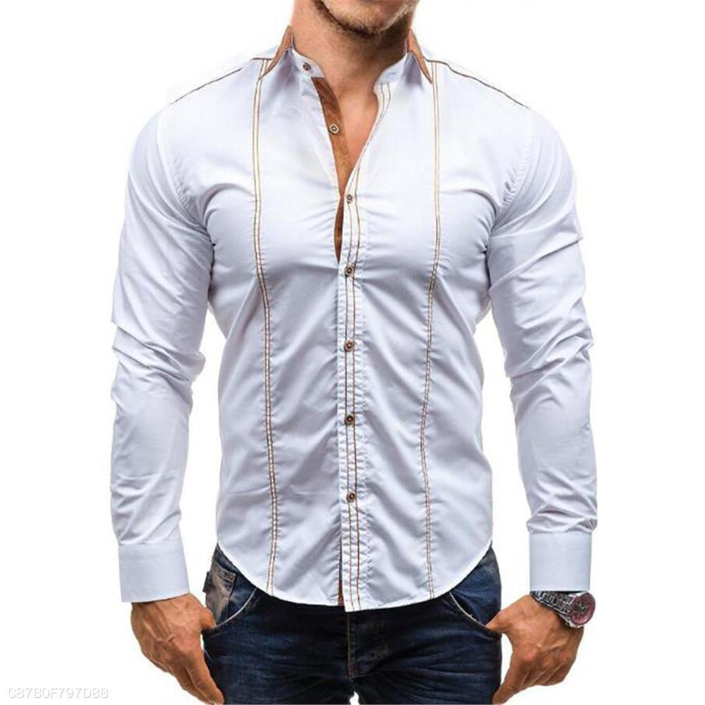 Fashion Mens Business Slim Plain Button Long Sleeve Shirt Top