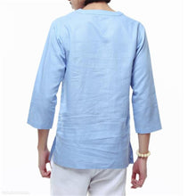 Load image into Gallery viewer, Fashion Mens Casual Loose Linen Plain V Collar Long Sleeve Shirts