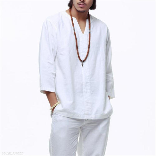 Fashion Mens Casual Loose Linen Plain V Collar Long Sleeve Shirts