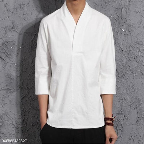 Fashion Mens Loose Plain Linen Shirt Long Sleeve Shirts