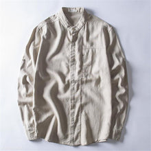 Load image into Gallery viewer, Fashion Mens Casual Linen Loose Plain Button Long Sleeve Shirt Top