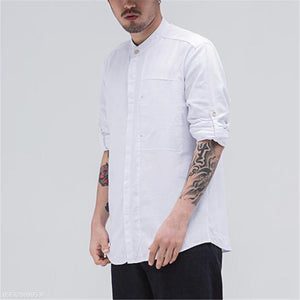 Fashion Mens Casual Linen Loose Plain Button Long Sleeve Shirt Top