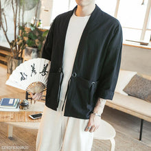 Load image into Gallery viewer, Fashion Mens Blinding Pocket  Plain Loose Coat