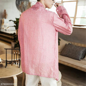 Fashion Mens Vacation Casual Loose Plain Long Sleeve Outerwear