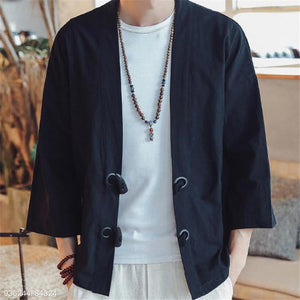 Fashion Mens Loose Plain Long Sleeve Ox Horn Buckle Cardigan Outerwear
