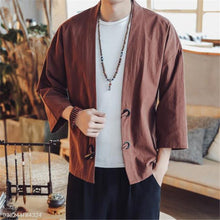 Load image into Gallery viewer, Fashion Mens Loose Plain Long Sleeve Ox Horn Buckle Cardigan Outerwear