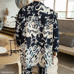 Fashion Mens Chinese Style Loose Floral Long Sleeve Cardigan Outerwear