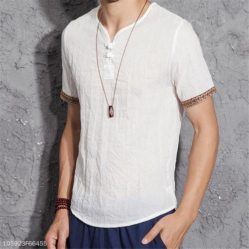 Mens Casual Loose Plain Buckle Collar Short Sleeve Linen Shirt