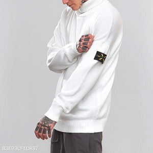 Mens Casual High Collar Plain Sweater