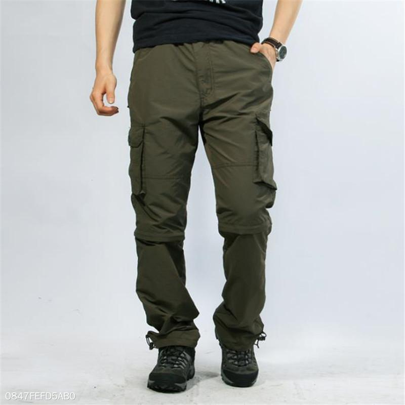 Fashion Mens Casual Vacation Loose Plain Joint Detachable Long Pants