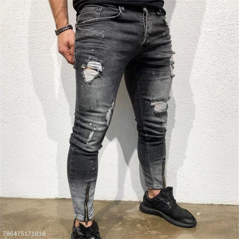 Fashion Mens Casual Plain Hole Denim Long Pants