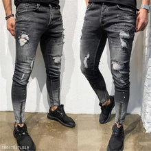 Load image into Gallery viewer, Fashion Mens Casual Plain Hole Denim Long Pants