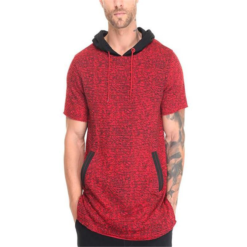 Fashion Mens Sport Loose Color Block Short Sleeve Hoodie