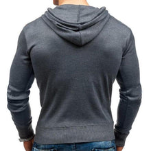 Load image into Gallery viewer, Fashion Mens Sport Slim Color Block Button Collar Long Sleeve Hoodie