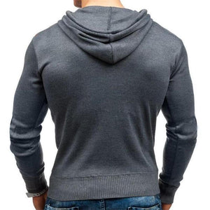 Fashion Mens Sport Slim Color Block Button Collar Long Sleeve Hoodie