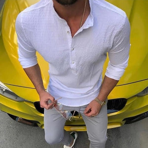 Fashion Mens Casual Cotton/Linen Solid Color Shirt