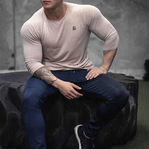 Fashion Mens Casual Sport Slim Print Round Neck Long Sleeve Top Shirts
