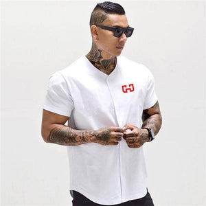 Casual Sport Mens Button Print Short Sleeve Shirt Top