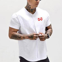 Load image into Gallery viewer, Casual Sport Mens Button Print Short Sleeve Shirt Top
