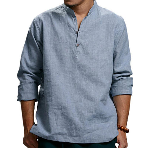 Casual Mens Cotton/Linen Solid Color Long Sleeve T Shirts