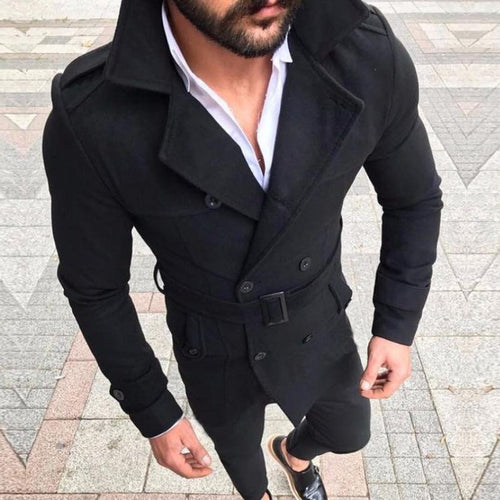 Fashion Mens  Plain Lapel Double Button Belt Coat