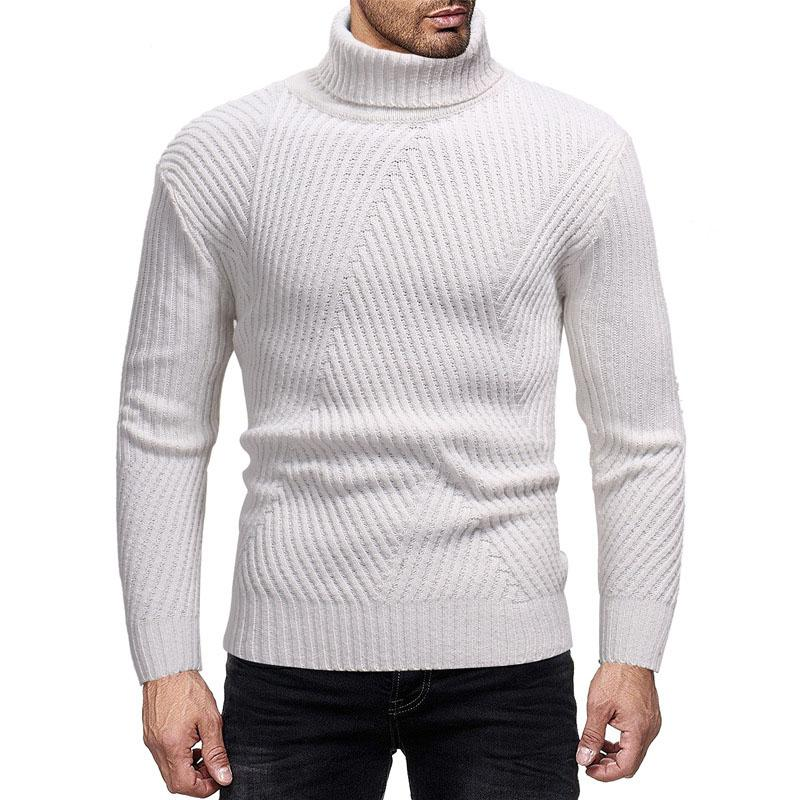 Fashion Mens Solid Color Turtleneck Sweater