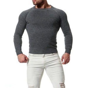 Fashion Casual Mens  Thermal Plain Long Sleeve Sweater