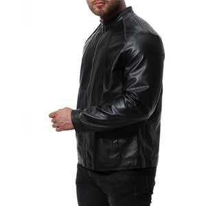 Chic Casual Slim Plain Leather Zipper Mens Jacket Outerwear