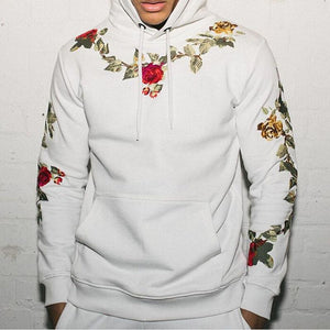 Fashion Mens Floral Embroidery Hoodie