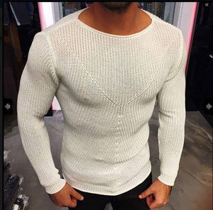 Mens Fashion Round Collar Slim Thin Knit Shirt Sweater